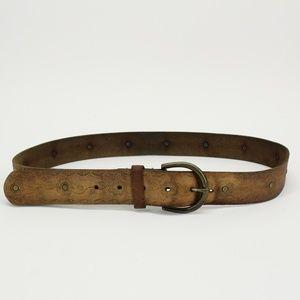Vintage Distressed Leather Tooled Belt